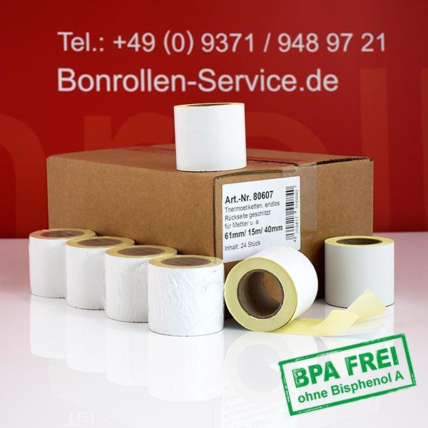 Produktfoto - Thermo-Etikettenrollen 61 mm x 15 m, BPA-frei > permanent  für
