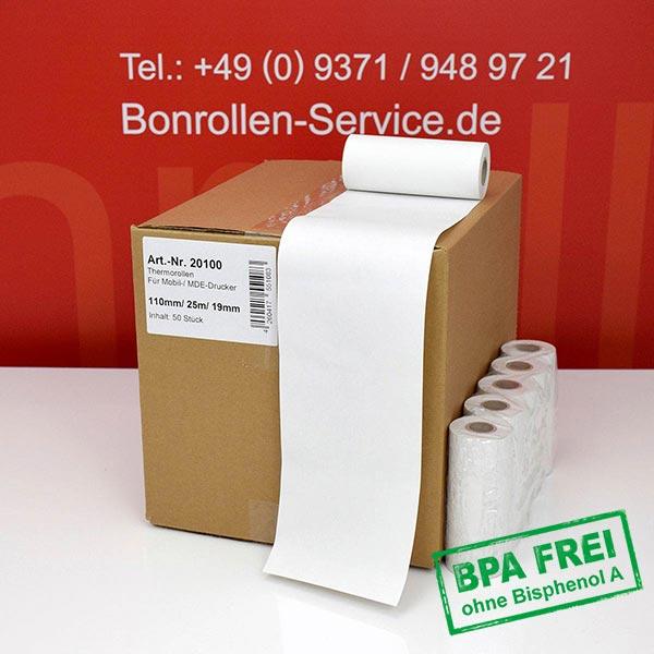 Produktfoto - Thermorollen / Kassenrollen, BPA-frei 110 / 25m / 19 für Honeywell RP4D