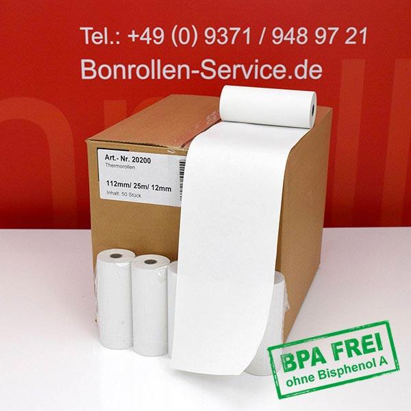 Produktfoto - Thermorollen / Kassenrollen, BPA-frei 112 / 25m / 12 für Datecs DPP-450