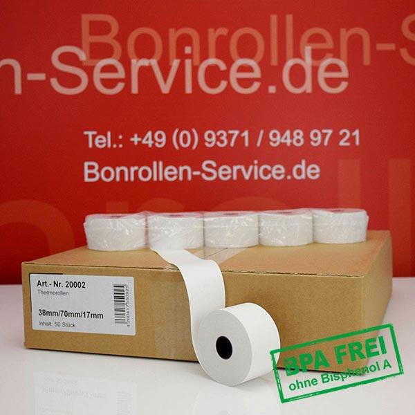 Produktfoto - Thermorollen / Kassenrollen, BPA-frei 38 / 70 / 17,5 für Quorion CR 28