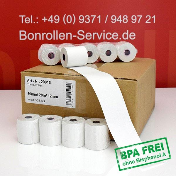 Produktfoto - Thermorollen / Kassenrollen, BPA-frei 50 / 28m / 12 für Zebra iMZ 220
