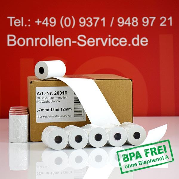 Produktfoto - Thermorollen / Kassenrollen, BPA-frei 57 / 18m / 12 für Concardis V400m