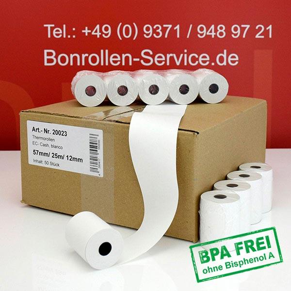 Produktfoto - Thermorollen / Kassenrollen, BPA-frei 57 / 25m / 12 für Hypercom VX 510 Ethernet