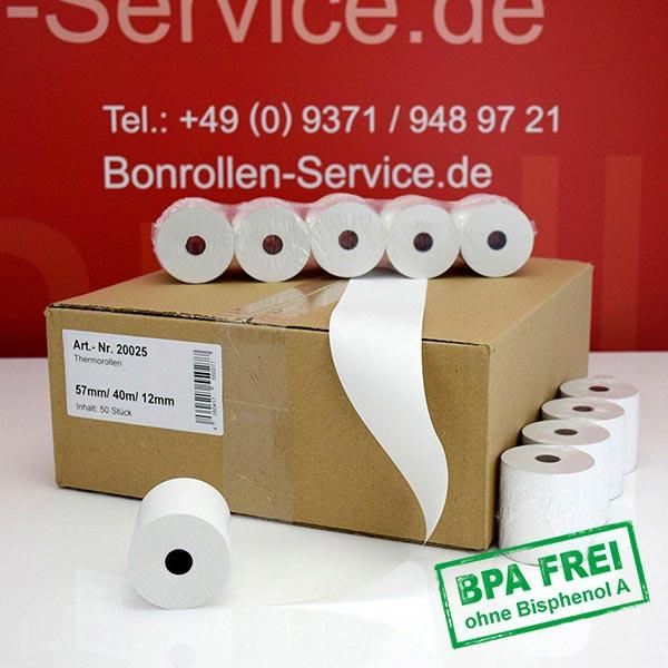 Produktfoto - Thermorollen / Kassenrollen, BPA-frei 57 / 40m / 12 für Custom S Print I