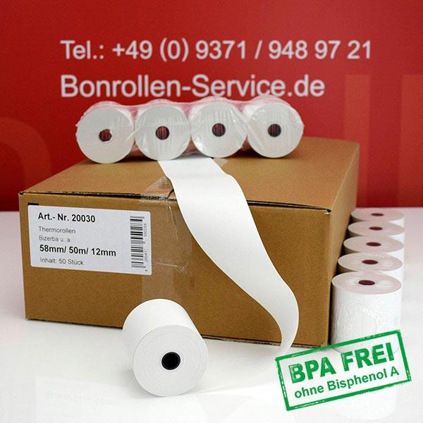 Produktfoto - Thermorollen / Kassenrollen, BPA-frei 58 / 50m / 12 für Multi-Data ECR 116