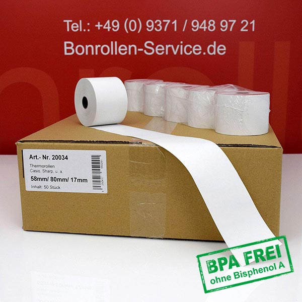 Produktfoto - Thermorollen / Kassenrollen, BPA-frei 58 / 80 / 17,5 für Sharp XE-A147 WH