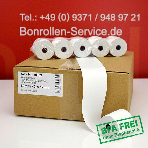 Produktfoto - Thermorollen / Kassenrollen, BPA-frei 60 / 40m / 12 für INDATEC / INKA, Innenwicklung für