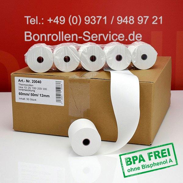 Produktfoto - Thermorollen / Kassenrollen, BPA-frei 60 / 50m / 12 für INDATEC / INKA, Innenwicklung für Indatec INKA 10