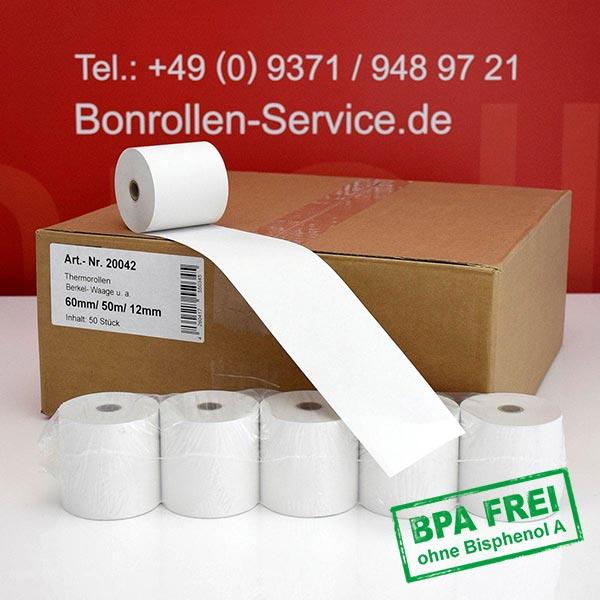 Produktfoto - Thermorollen / Kassenrollen BPA-frei 60 / 50m / 12 für Avery-Berkel IX202