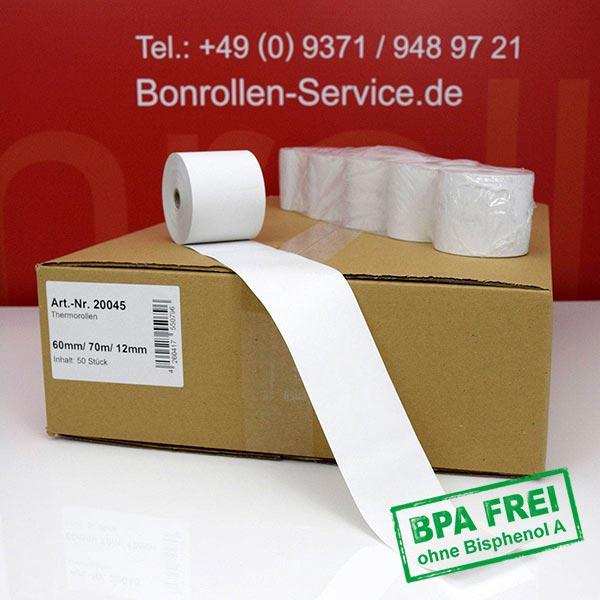 Produktfoto - Thermorollen / Kassenrollen BPA-frei 60 / 70m / 12 für Citizen CBM-253