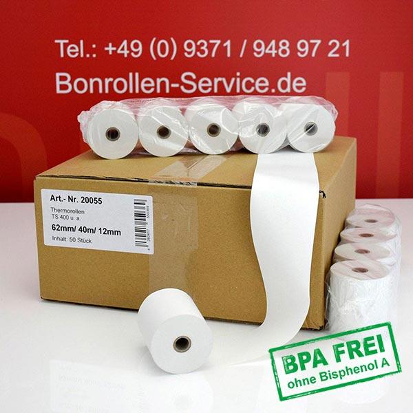 Produktfoto - Thermo-Kassenrollen / Waagenrollen, BPA-frei 62 / 40m / 12 für Dataprocess TS-300