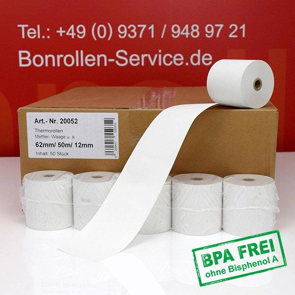 Produktfoto - Thermo-Kassenrollen / Waagenrollen, BPA-frei 62 / 50m / 12 für Mettler-Toledo UC3 CDDT-P