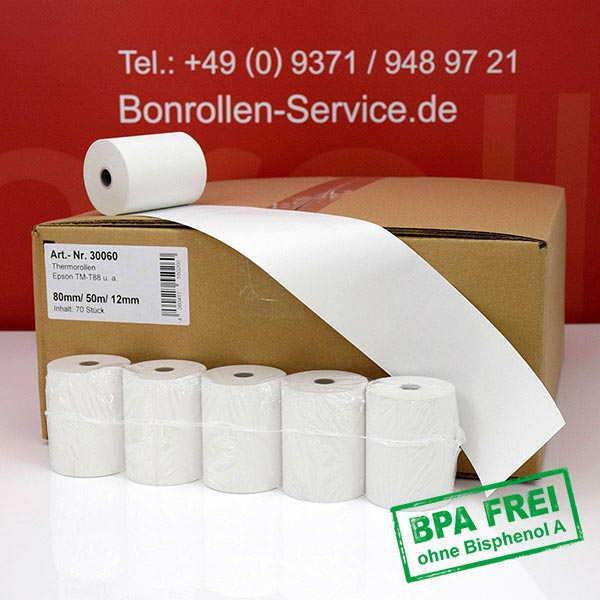 Produktfoto - Thermorollen / Kassenrollen, BPA-frei 80 / 50m / 12 für Mons QMP 3186