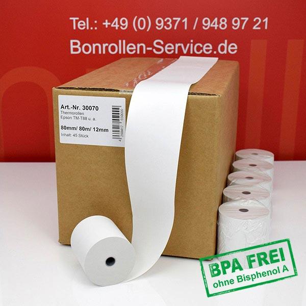 Produktfoto - Thermorollen / Kassenrollen, BPA-frei 80 / 80m / 12 für Epson TM-T 88 V (012)