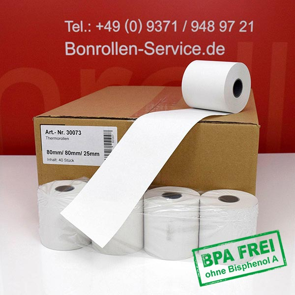 Produktfoto - Thermorollen / Automatenrollen, BPA-frei 80 / 80m / 25 für