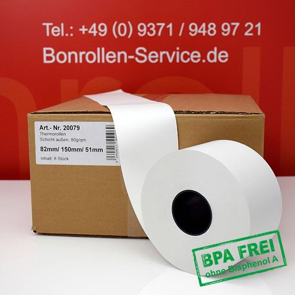 Produktfoto - Thermorollen / Automatenrollen, phenolfrei 82 / 150 / 51 (80g/m²) für Axiohm MLTP
