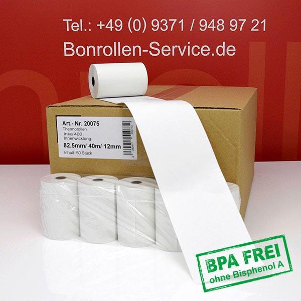 Produktfoto - Thermorollen / Kassenrollen, BPA-frei 82 / 40m / 12 für INDATEC / INKA, Innenwicklung für Indatec INKA 450