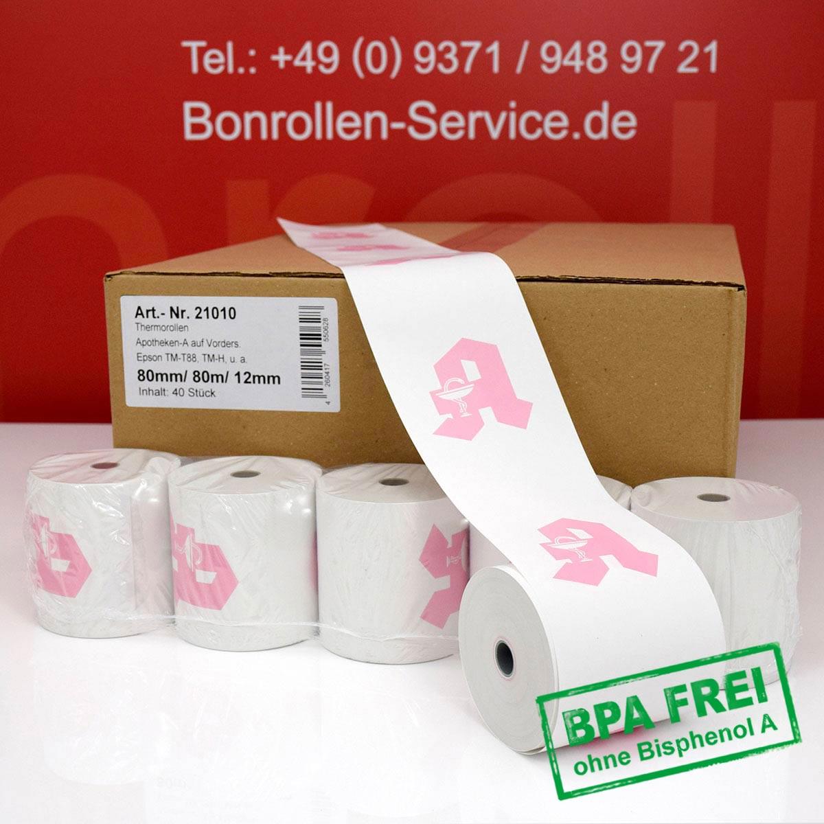 Apothekenrollen ohne BPA 80 / 80 / 12 weiß, Thermopapier