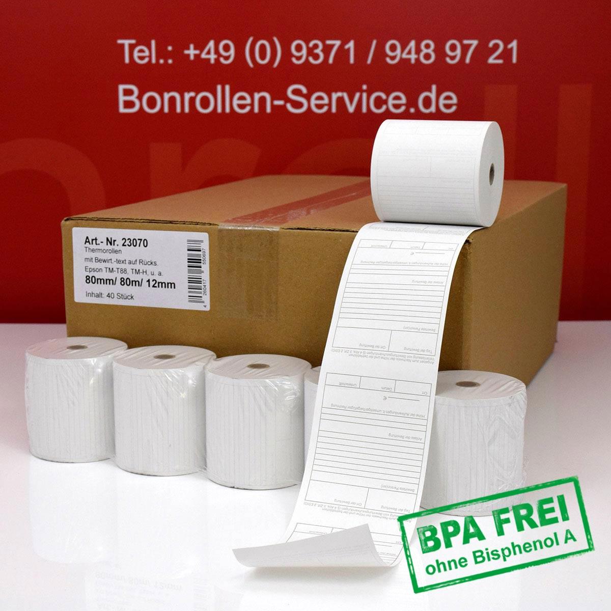 Thermorollen ohne BPA 80 / 80m / 12 weiß, mit Bewirtungsbeleg auf der Rückseite