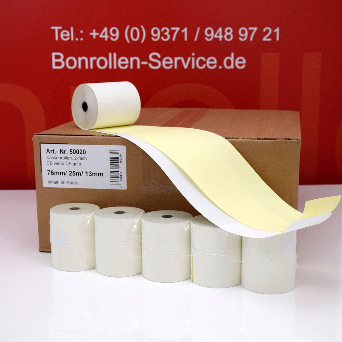 Durchschlagpapier-Rollen 76 / 25m / 13,3 weiß