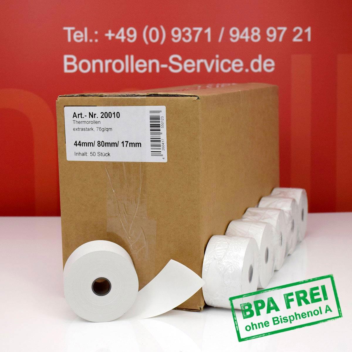 Thermorollen 44 / 80 / 17,5 weiß mit extra-starkem Papier