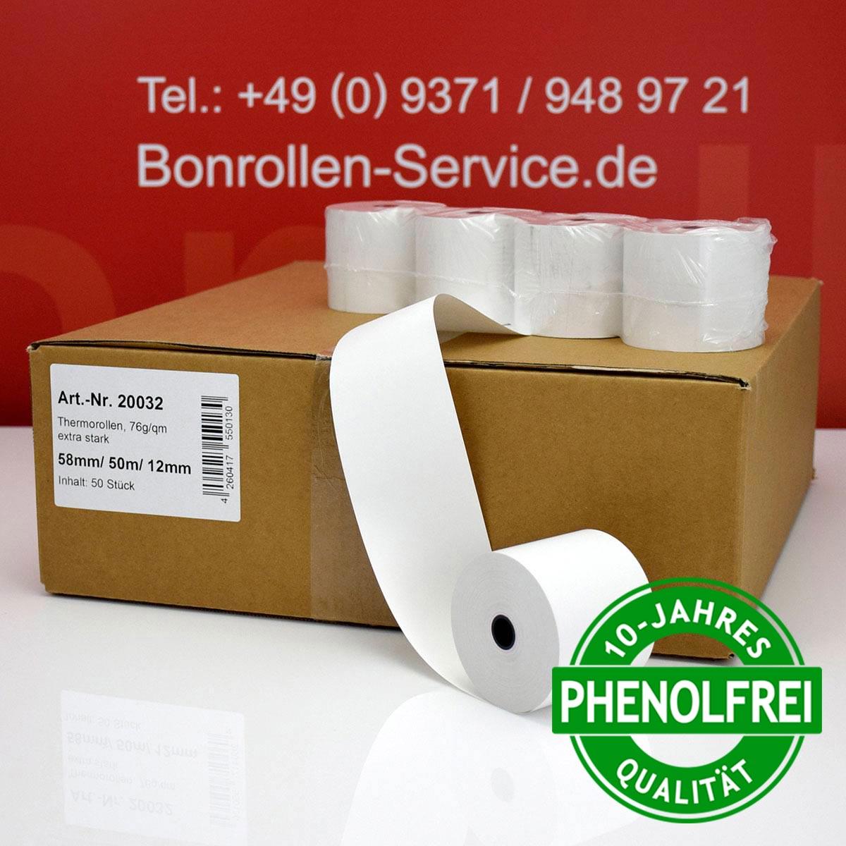 Thermorollen 58 / 50m / 12 weiß mit extra-starkem Papier