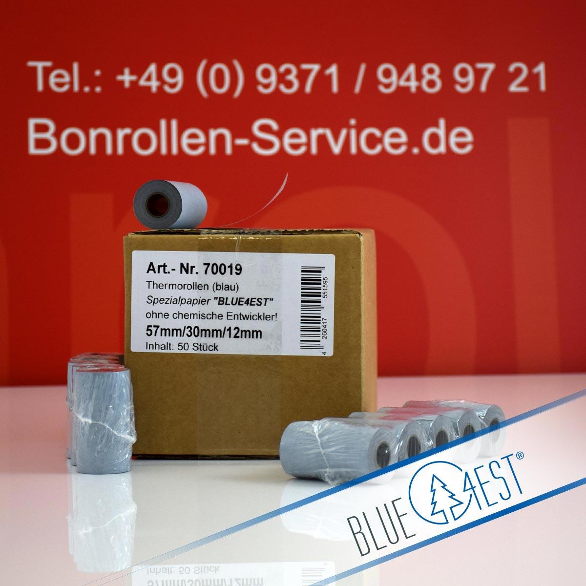 Umweltfreundliche Thermorollen Blue4est 57 / 10m / 12 blau
