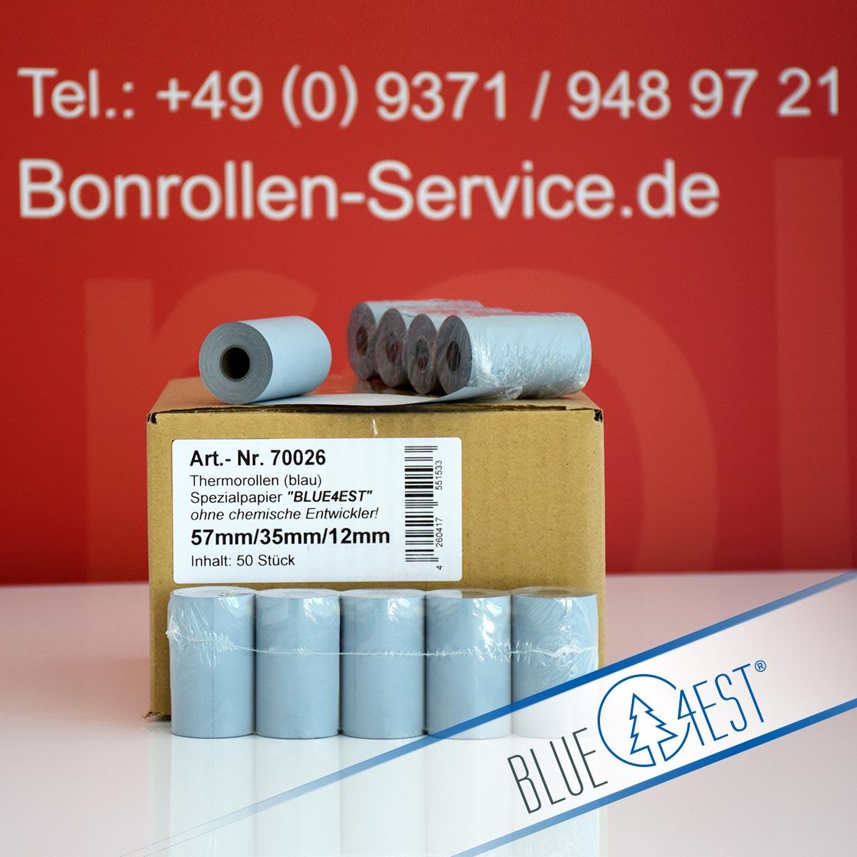 Umweltfreundliche Thermorollen Blue4est 57 / 14m / 12 blau
