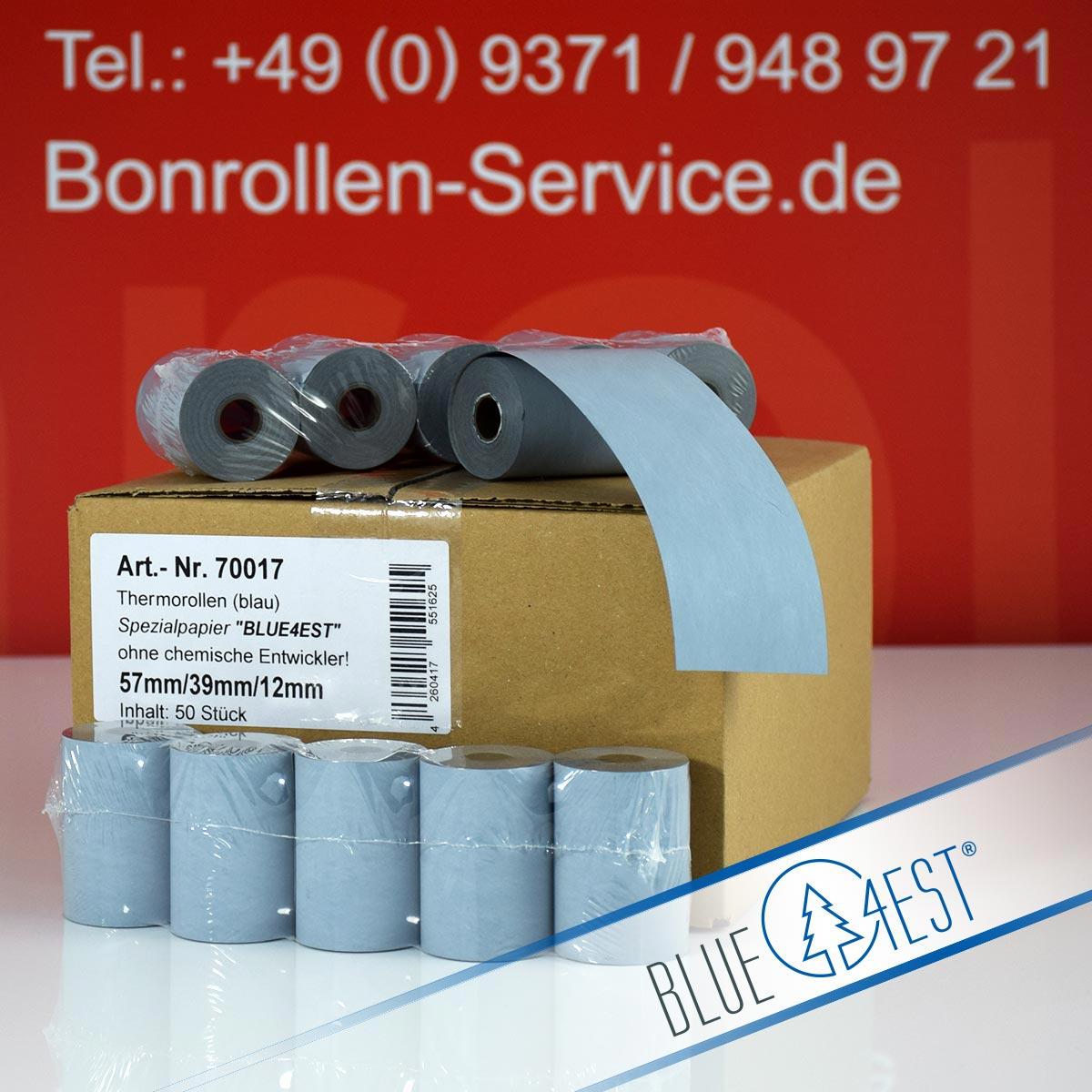 Umweltfreundliche Thermorollen Blue4est 57 / 18m / 12 blau