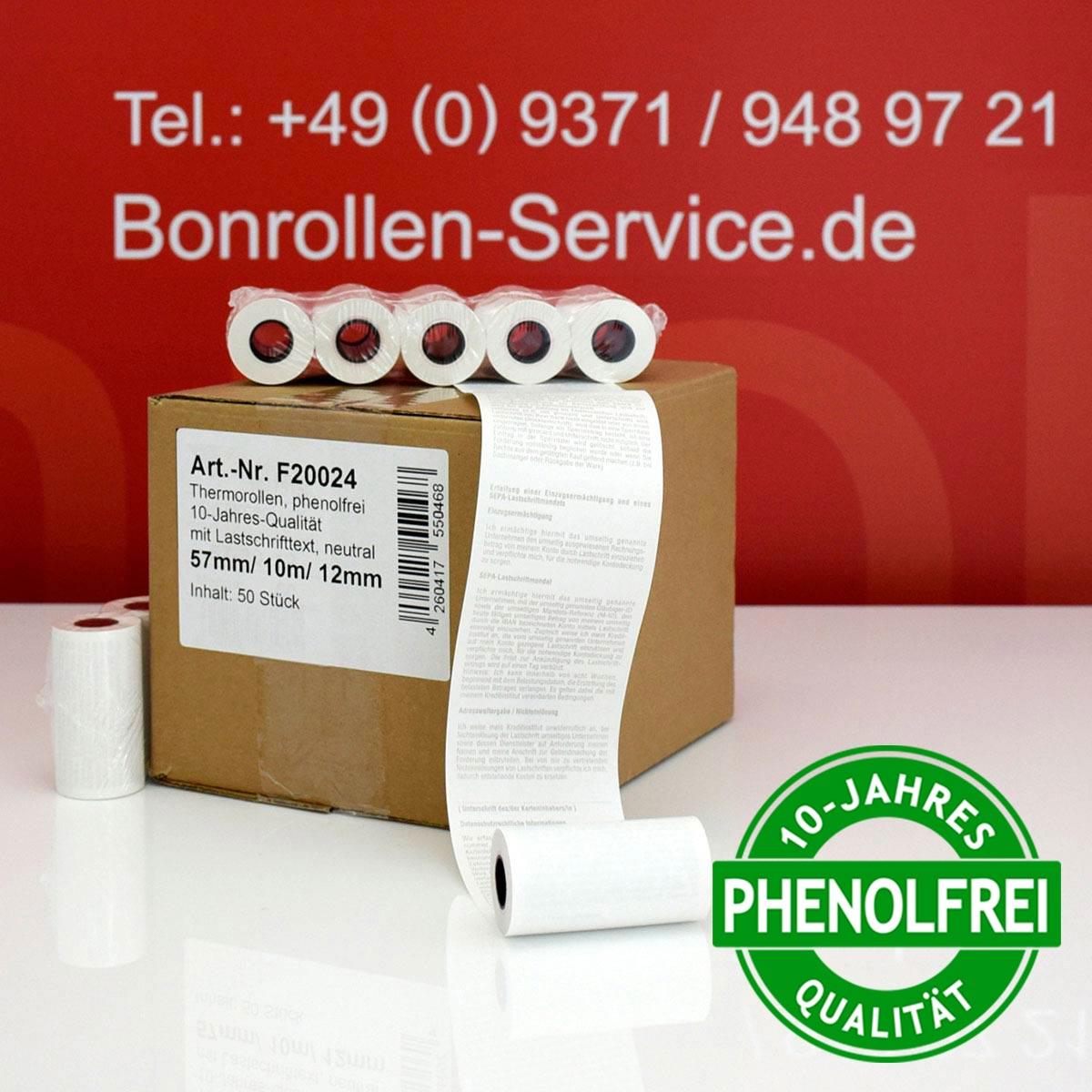 Phenolfreie EC-Thermorollen 57 / 10m / 12 weiß, mit SEPA-Text