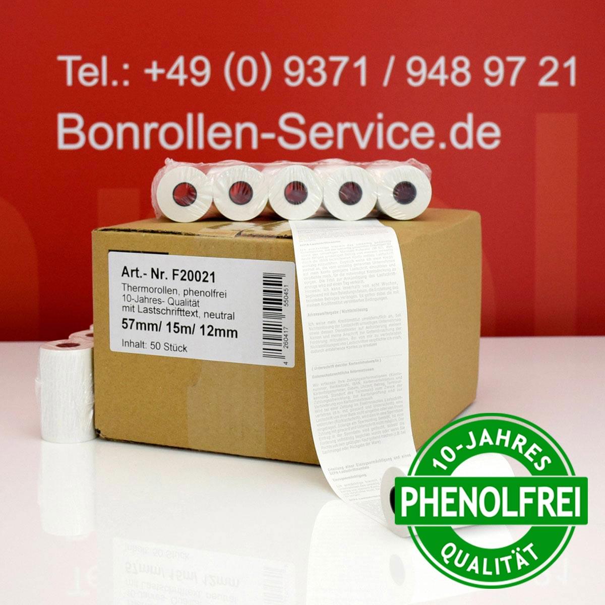 Kurze EC-Thermorollen 57 / 15m / 12 weiß mit SEPA-Text (10-Jahres-Qualität, phenolfrei)
