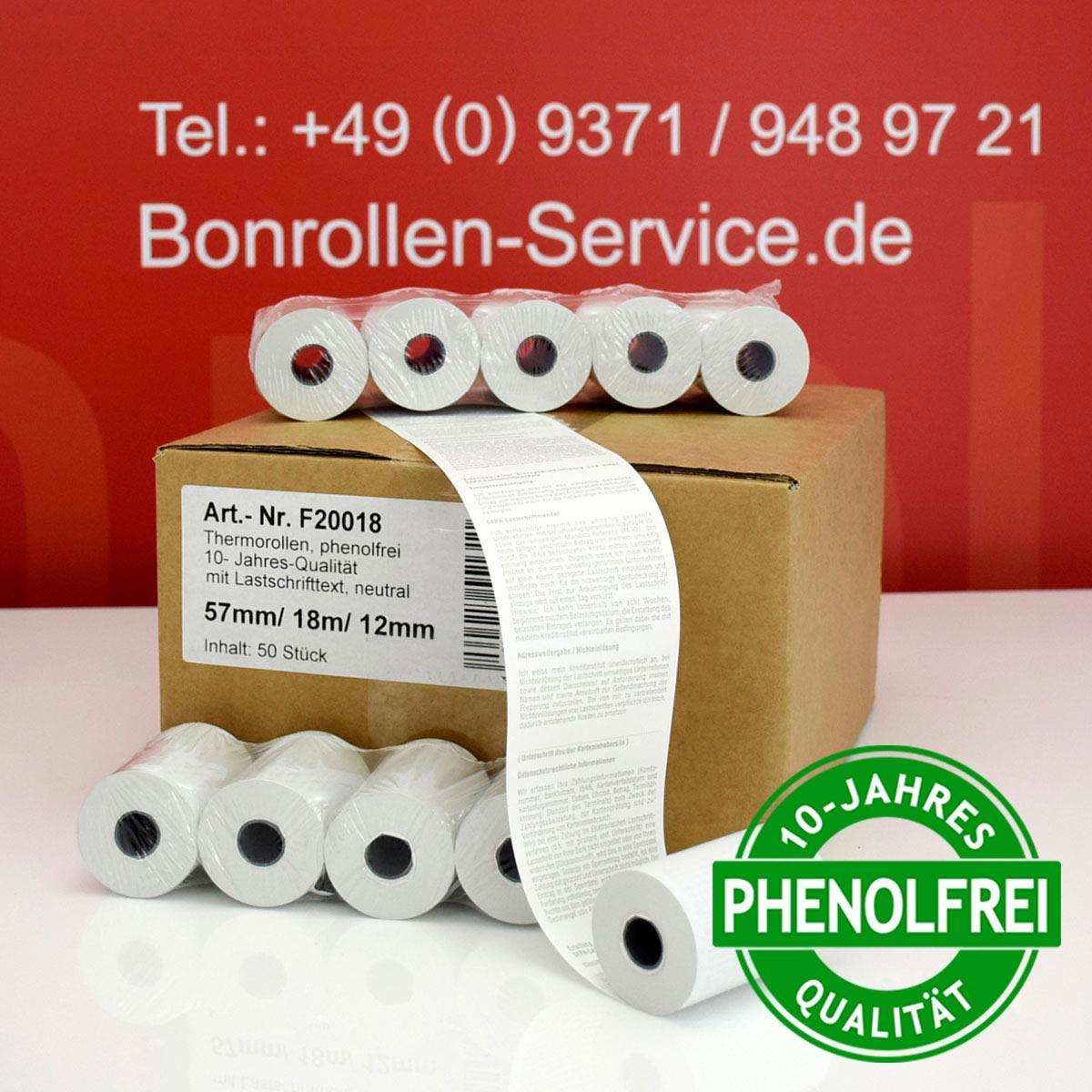 Kurze EC-Thermorollen 57 / 18m / 12 weiß mit SEPA-Text (10-Jahres-Qualität, phenolfrei)