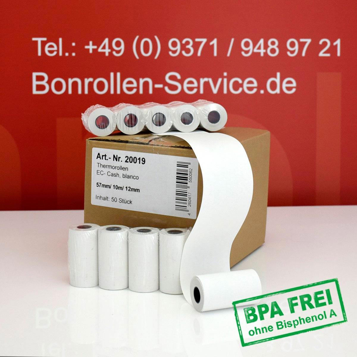 Thermorollen ohne BPA 57 / 10m / 12 weiß