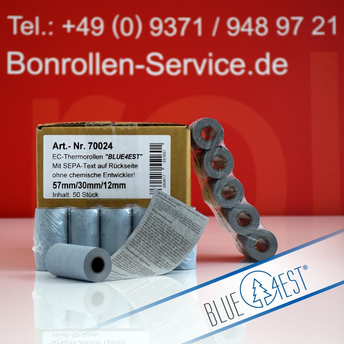 Umweltfreundliche EC-Thermorollen Blue4est 57 / 10m / 12 mit SEPA-Text, blau