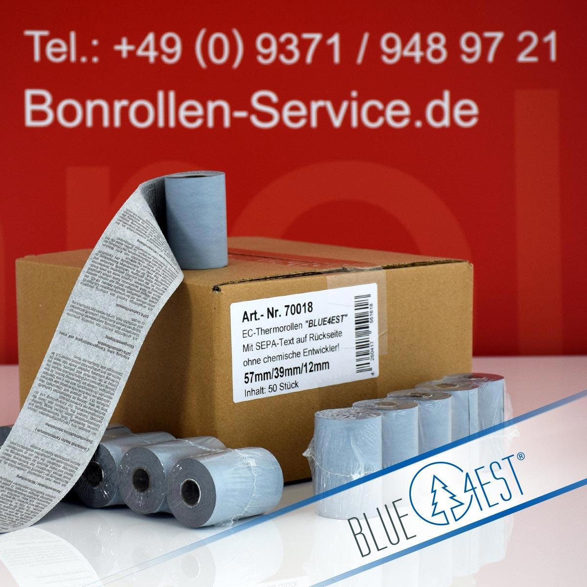 Umweltfreundliche EC-Thermorollen Blue4est 57 / 18m / 12 mit SEPA-Text, blau