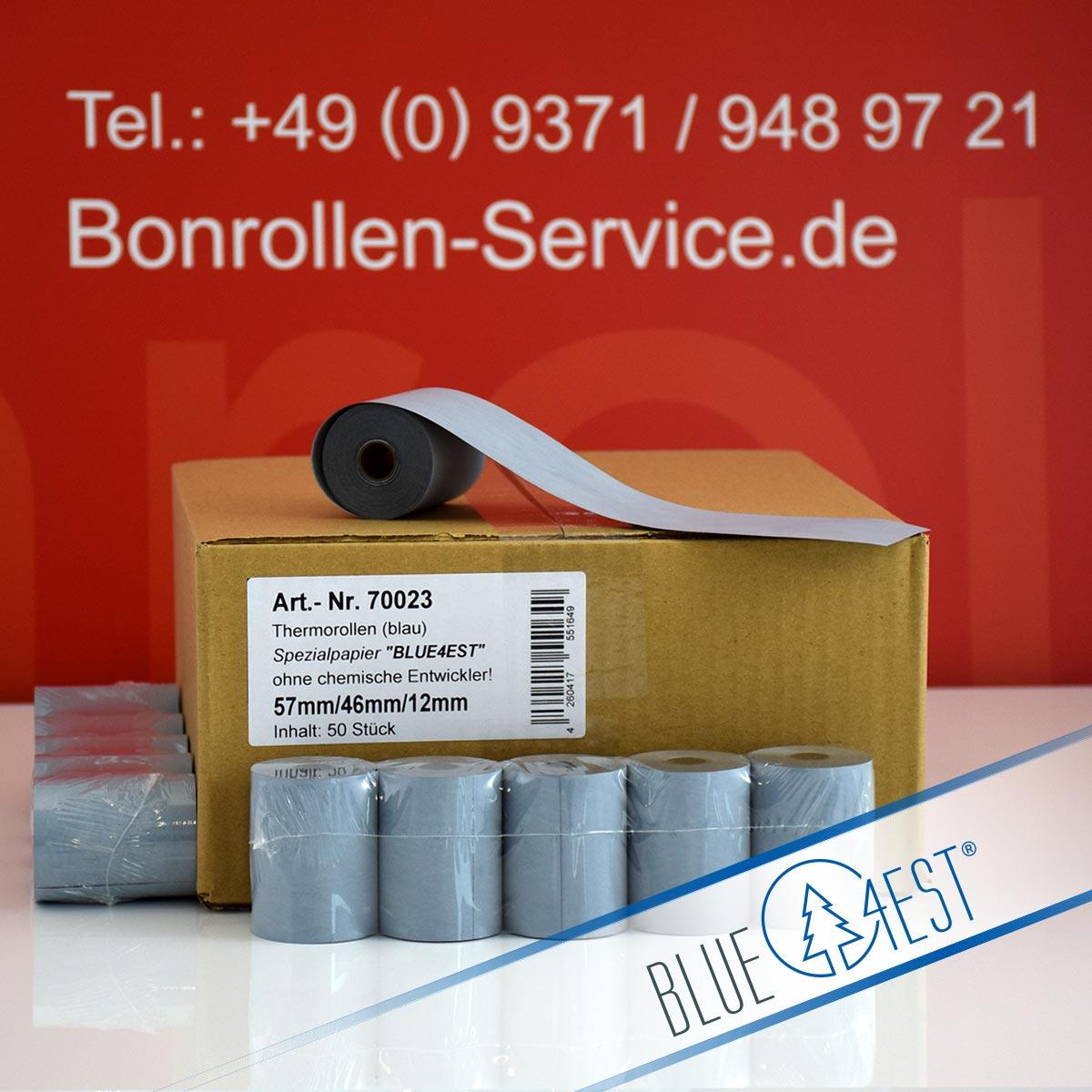Umweltfreundliche Thermorollen Blue4est 57 / 25m / 12 blau