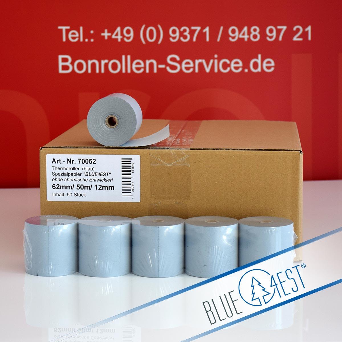Umweltfreundliche Thermorollen Blue4est 62 / 50m / 12 blau