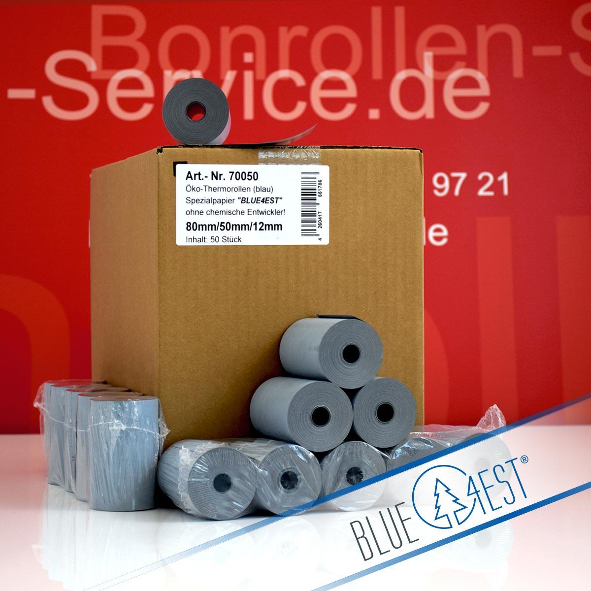 Umweltfreundliche Thermorollen Blue4est 80 / 50 / 12 blau