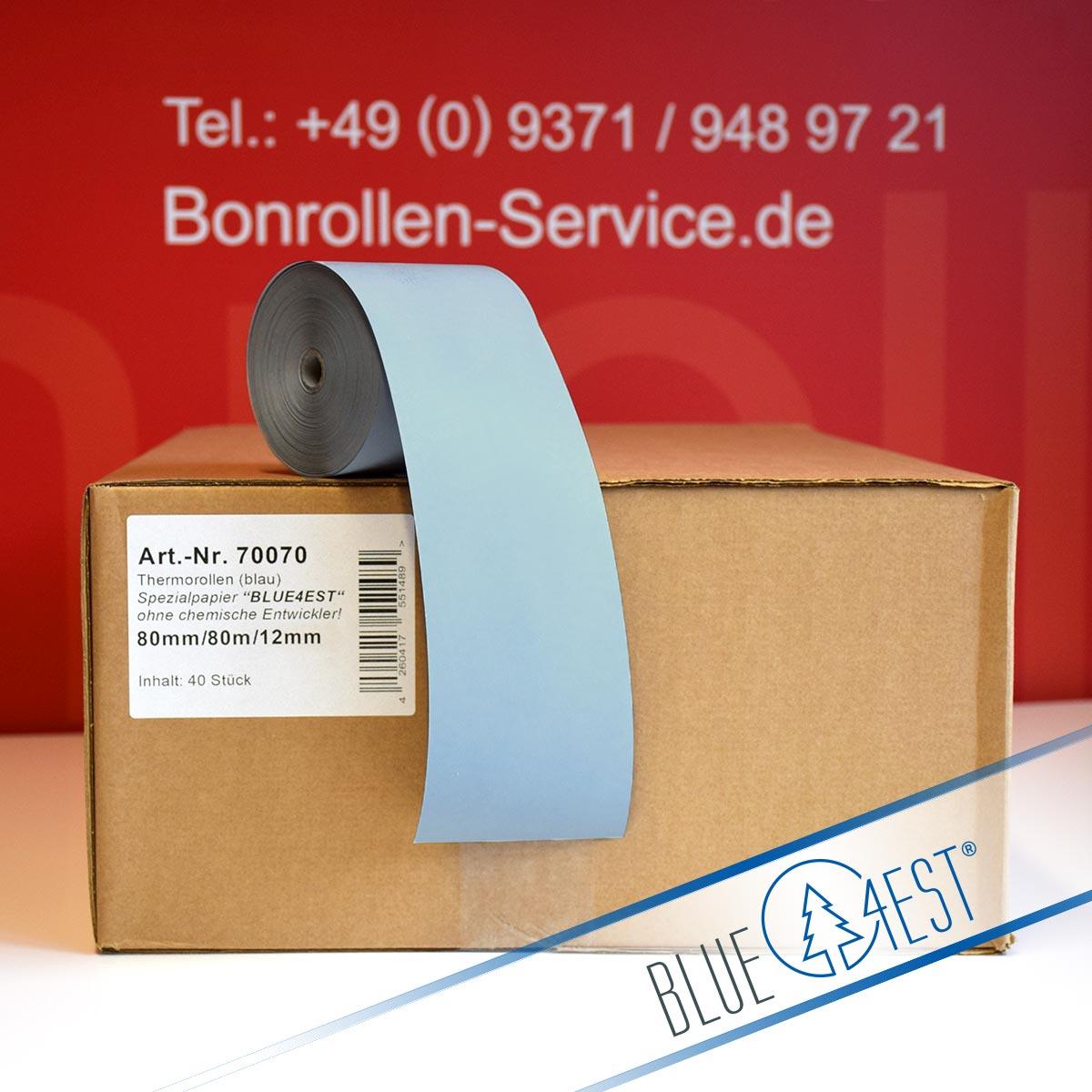 Umweltfreundliche Thermorollen Blue4est 80 / 80 / 12 blau