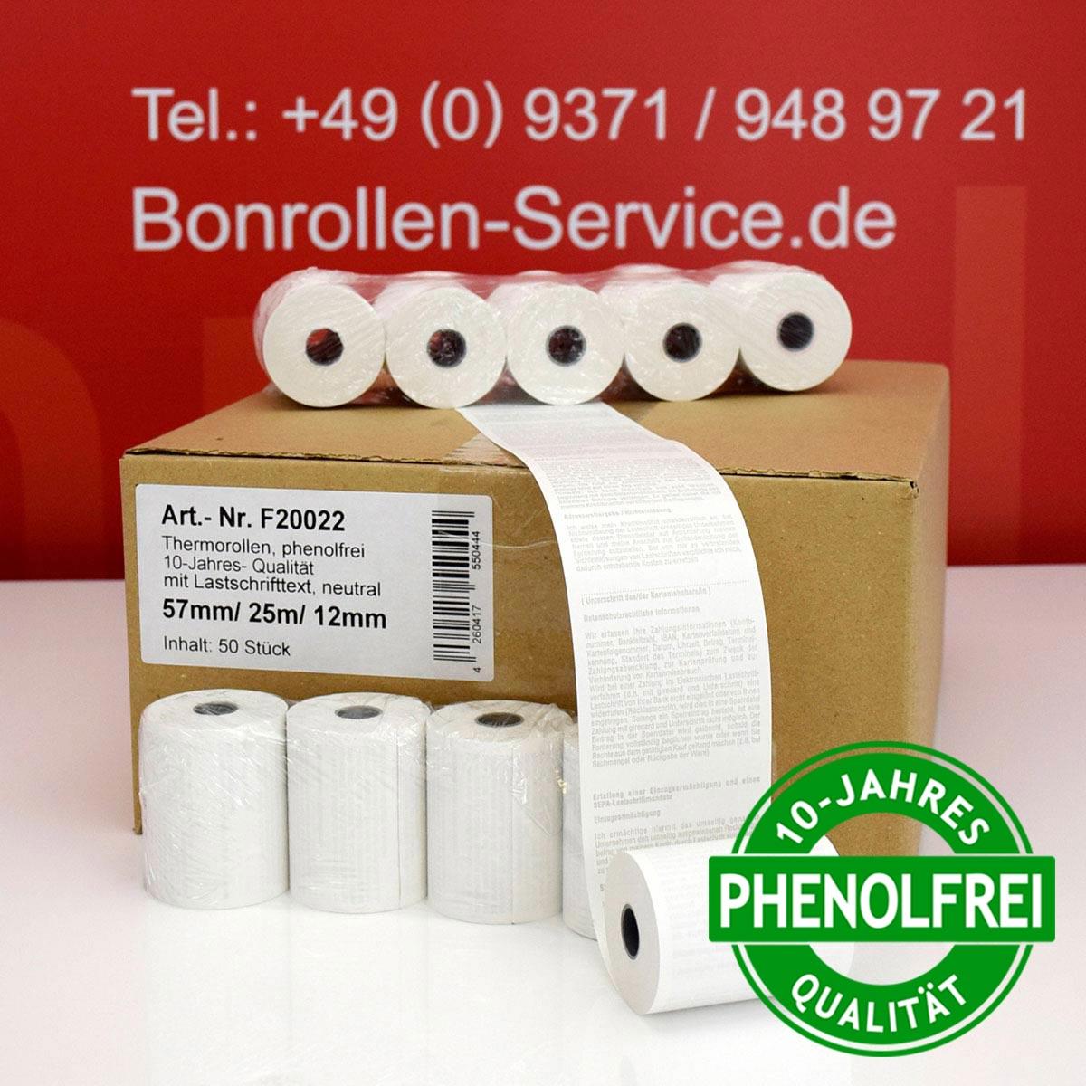 Phenolfreie EC-Thermorollen 57 / 25m / 12 weiß, mit SEPA-Text
