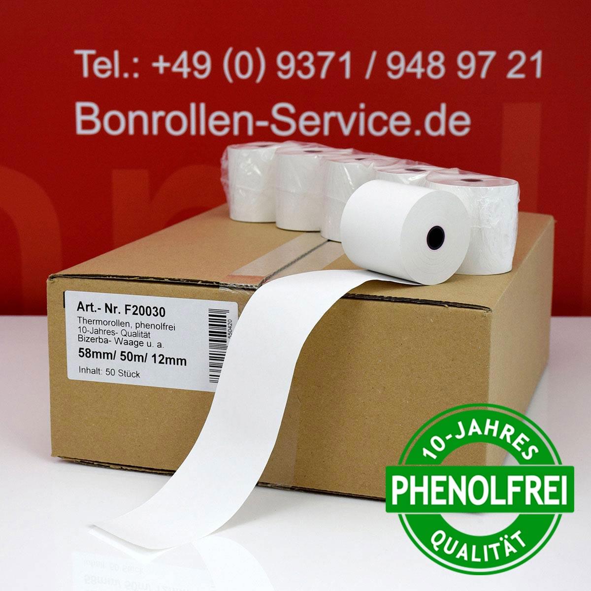 Phenolfreie Thermorollen 58 / 50m / 12 weiß