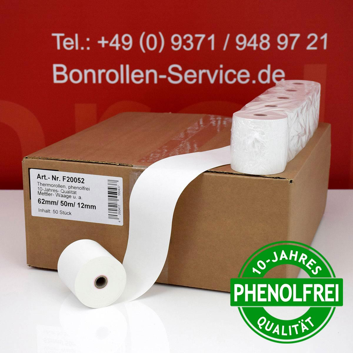 Phenolfreie Thermorollen 62 / 50m / 12 weiß