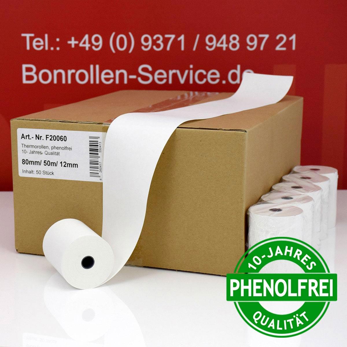 Phenolfreie Thermorollen 80 / 50m / 12 weiß
