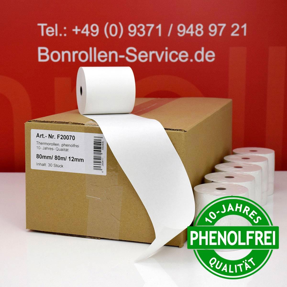 Phenolfreie Thermorollen 80 / 80m / 12 weiß