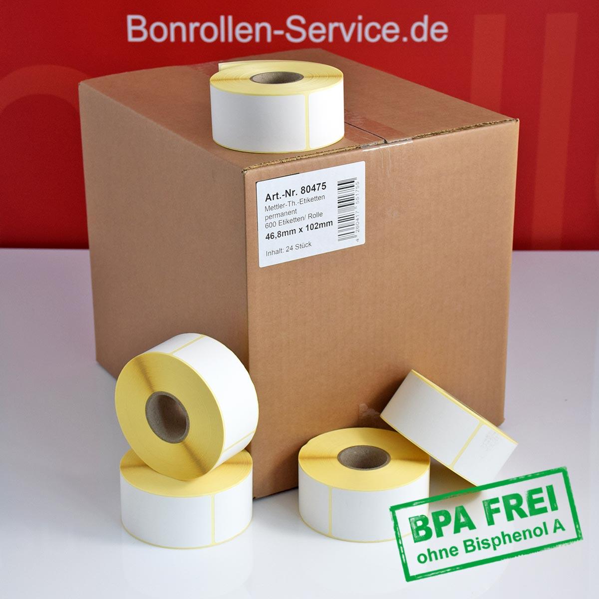 Thermo-Etikettenrollen ohne BPA, 46,8 x 102 für Avery Berkel, permanent