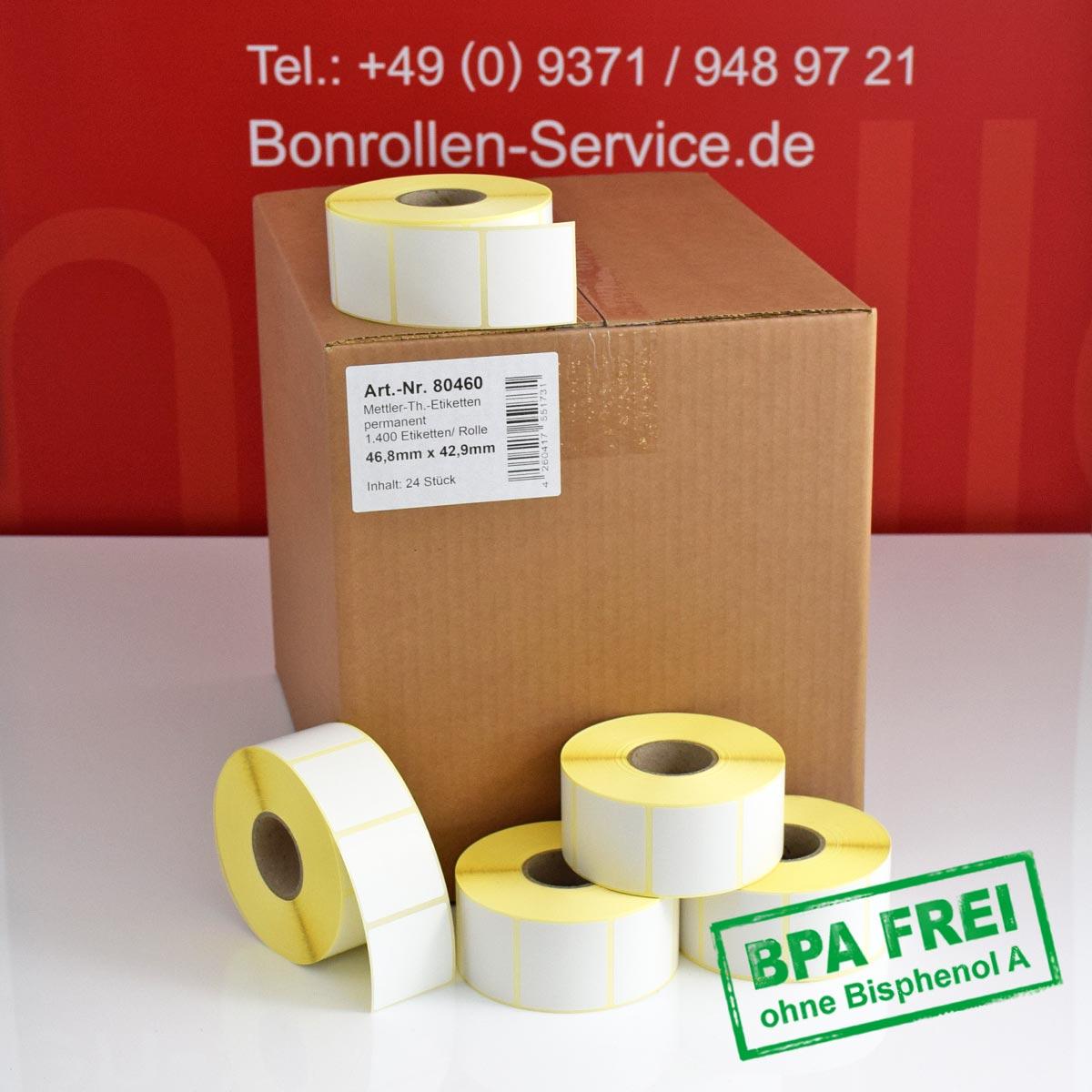 Thermo-Etikettenrollen ohne BPA, 46,8 x 42,9 für Avery Berkel, permanent