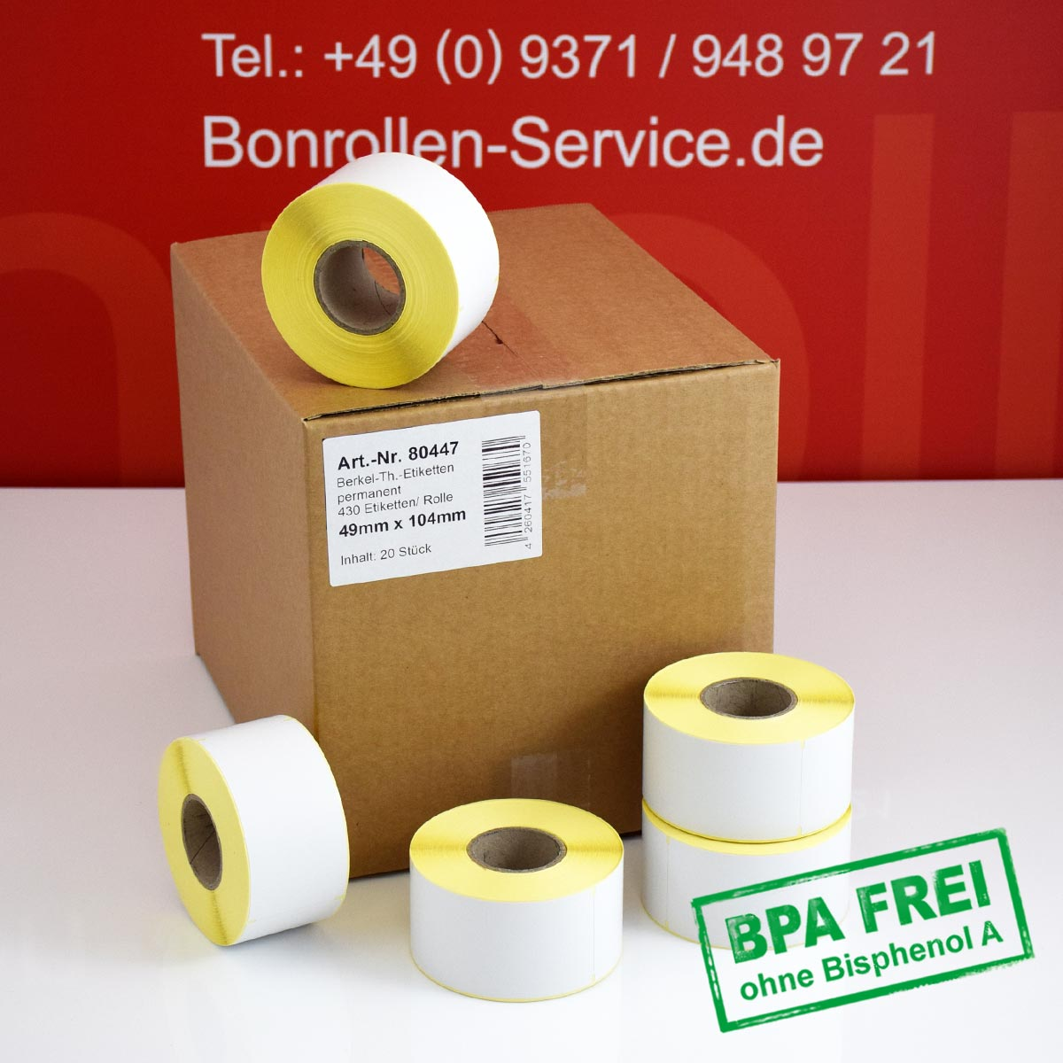 Thermo-Etikettenrollen ohne BPA, 49 x 104 für Avery Berkel, permanent