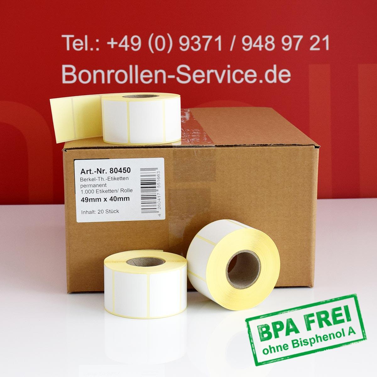 Thermo-Etikettenrollen ohne BPA, 49 x 40 für Avery Berkel, permanent