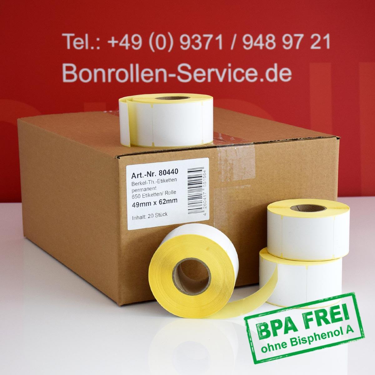 Thermo-Etikettenrollen ohne BPA, 49 x 62 für Avery Berkel, permanent