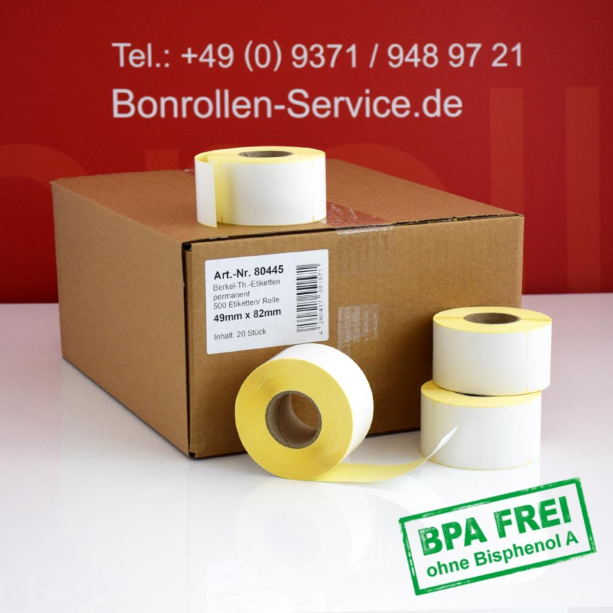 Thermo-Etikettenrollen ohne BPA, 49 x 82 für Avery Berkel, permanent